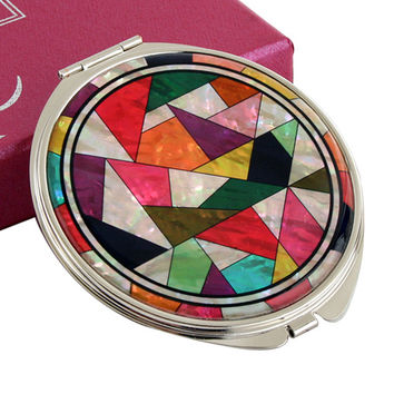 Mother of Pearl Colorful Patchwork 2x Magnification Double Compact Cosmetic Makeup Vanity Folded Mini Purse Beauty Pocket Mirror