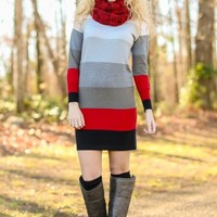 LOVE STITCH:More Than This Sweater Dress-Red/Black