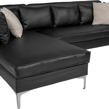 Back Bay Upholstered Accent Pillow Back Black Sectional with Left Side Facing Chaise