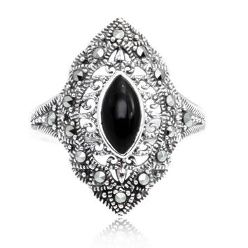 925 Oxidized Sterling Silver Swarovski Marcasite Marquise Black Onyx Ring Size 8
