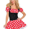 Red Minnie Mouse Off Shoulder Puffed Sleeve Bandage Suspender Costume Dress