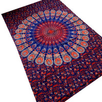 Mandala tapestry Hand Print Mandala tapestry bedspread ,Indian Tapestry ,Bohemian Bed Cover, wall hanging,bed Spread,mandala,neptol bedsheet