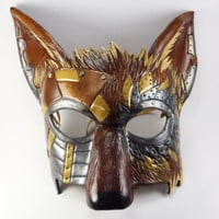 Steampunk Masquerade Coyote Mask with 8oz Leather Hand Carved and Formed LARP Cosplay or Masked Ball