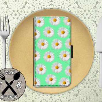 Daisy Pattern Mint Green Flower Cute Tumblr Custom Wallet Phone Case For iPhone 4 and 4s and iPhone 5 and 5s and 5c and iPhone 6 and 6 Plus