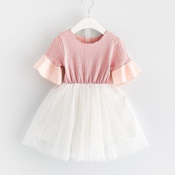 New girl solid Flare Sleeve princess dress kid clothing Toddler Girl Clothing Children Clothes