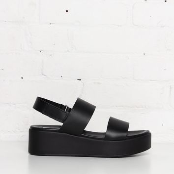Steve Madden Rachel Leather Flatform Sandal - Black