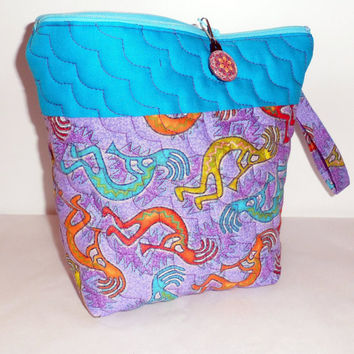 Machine Quilted FABRIC COSMETIC BAG/Ditty Bag/Wide Mouth Opening/Zippered Cosmetic Bag/2 Toned Quilted Cosmetic Bag/2 Use As Travel Storage
