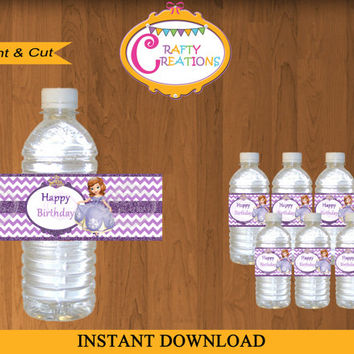 Disney Princess Sofia the First Printable Water bottle Labels -Sophia the First labels - Princess Sofia Water Wrapper -  INSTANT DOWNLOAD