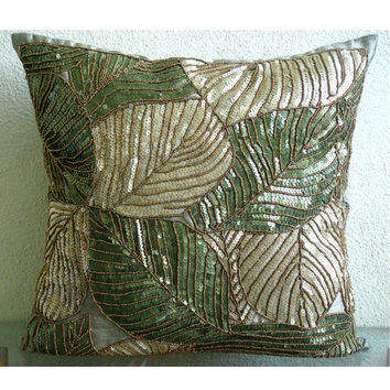 Green Camoflague - Throw Pillow Covers - 20x20 Inches Silk Pillow Cover with Sequin Embroidery