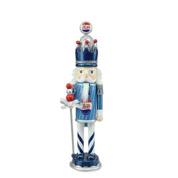 "12"" Decorative Blue White and Silver Wooden ""Pepsi-Cola"" Christmas Nutcracker King"