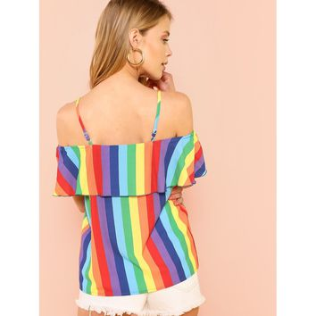 Multicolor Knot Front Cold Shoulder Rainbow Striped Top