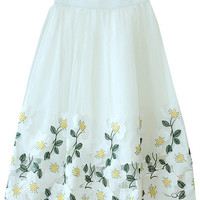 Floral Embroidered A-Line Midi Skater Skirt
