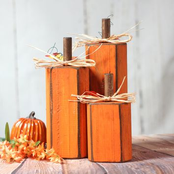 Rustic Wooden Pumpkins, Rustic Thanksgiving Decor