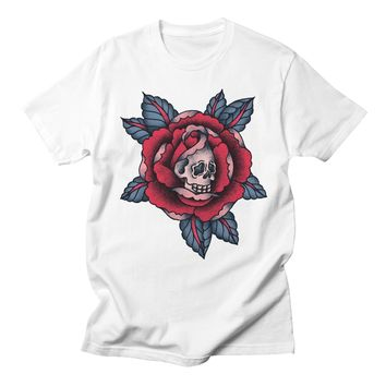 Red Rose Floral Skull Women Tshirts Casual Loose Streetwear