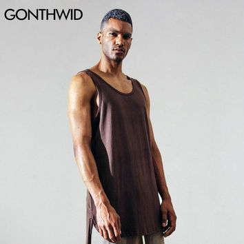 Men Extended Long Tank Top Fashion Male Sleeveless T Shirts Vest Summer Hip Hop Casual Cotton Tank Tops