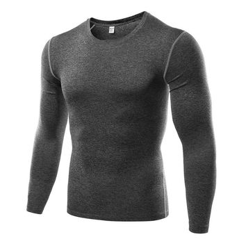 Autumn Men's Compression Long Sleeve Tops  Quick Dry T-Shirts Skinny Shirt Base Layer Clothing lm75