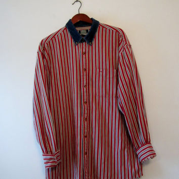 Vintage Red White Blue Striped Shirt Mens 80s Button Down Denim Collar Shirt Size XLT Tall Nautical Patriotic