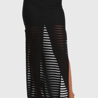 Black Maxi Skirt with See Through Design