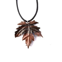 Wood Necklace, Wood Pendant, Wood Leaf Necklace, Wood Jewelry, Leaf Pendant, Hand Carved Pendant, Carved Leaf Necklace, Wood Carved Pendant