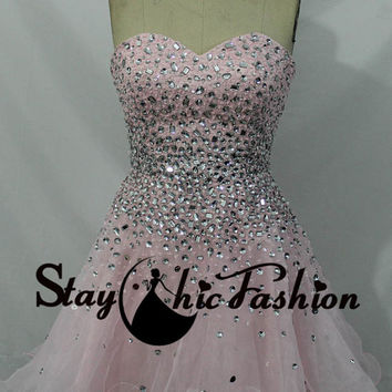 Sparkly Pink Short Beaded Prom Dress 2015 Rhinesonte Beaded Pink Strapless Homecoming Dress Pink Tulle Cocktail Dress
