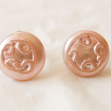 Vintage Clip On Earrings Plastic Light Pink Swirly Design Buttons Signed Japan