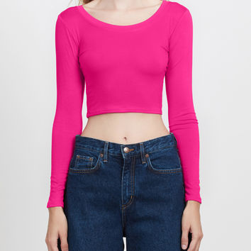 LE3NO Womens Lightweight Long Sleeve Scoop Neck Crop Top