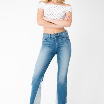 Cropped Flare Two Toned Jeans