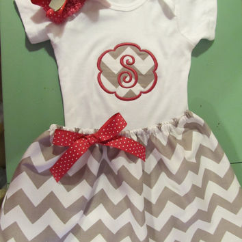FREE SHIPPING Custom Handmade initial letter snap-tee with matching chevron grey skirt and hairbow choice of letter and accent color