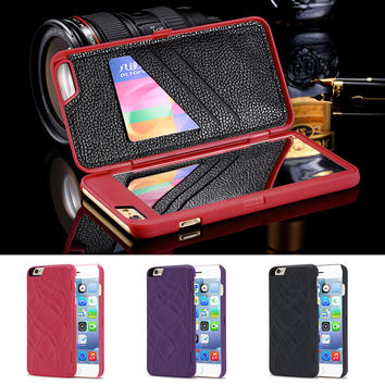 Fashion Multi Function built-in Cosmetic Mirror 3 card slot Wallet Case cover for IPhone 6 | 6s | 6sPlus