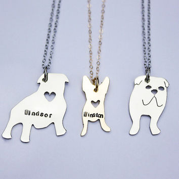 Personalized Pet Necklace- you choose the breed, silhouette necklace. English bulldog, frenchie, pit bull, dachshund, Labrador, pitbull