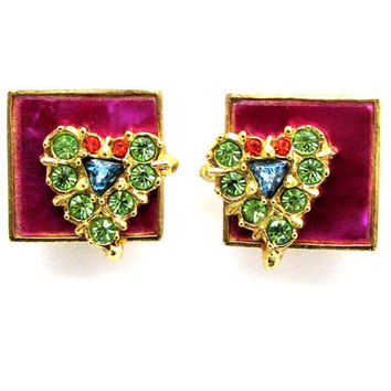 CHRISTIAN LACROIX, enameled vintage earrings and crystal-adorned hearts