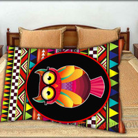 """Owl With Aztec Tribal Pattern - 20 """" x 30 """" inch,Pillow Case and Pillow Cover."""