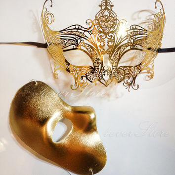 Gossip Girl Serena Masquerade Mask Set - Luxury Gold Masquerade Mask w/ Diamonds Paired w/ Phantom Mask Limited Edition by 4everstore