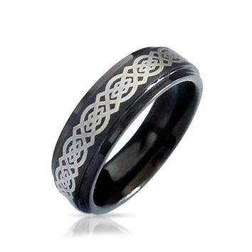 Celtic Infinity Love Knot Black Wedding Band Tungsten Ring For Men 8MM