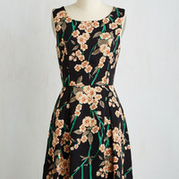 Mid-length Sleeveless Fit & Flare Flair For Florals Dress in Garland