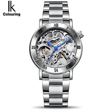 Fashion Automatic Self-Wind Women's Watch Skeleton Full Steel Silver Watch