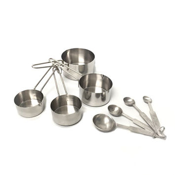 8-Piece Deluxe Stainless Steel Measuring Cup and Measuring Spoon Set