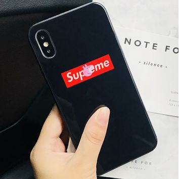 Supreme & Peppa Pig co-branded iphonex glass shell couple phone case F0602-1 Black