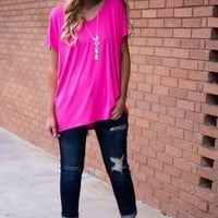Beaux Boyfriend Tee- Pink Punch
