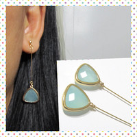 Mint Glass Earring Triangle Earring D9G Dangle earring wedding clip on earring long drop earring gold invisible clip on non pierced earring