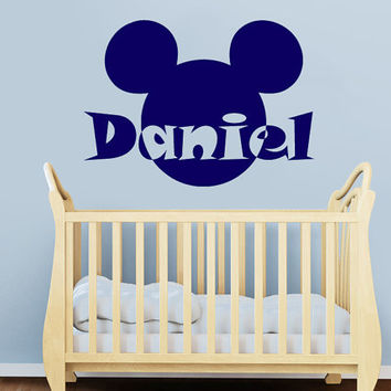 Wall Decal Vinyl Sticker Decals Art Decor Design Disney Custom Baby Name Head Mice Girl Ears Mickey Mouse Gift Kids Children Nursery(r813)