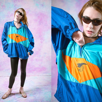 vtg asics 90's windbreaker, bright color sport athletic, 80s blue orange wind breaker, 1990s jacket, seapunk tumblr vaporwave aesthetic