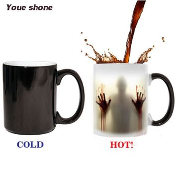 The Walking Dead Mugs Color Change Ceramic Coffee Mug and Cup Fashion Gift Heat Reveal Magic Zombie Mugs for Friend