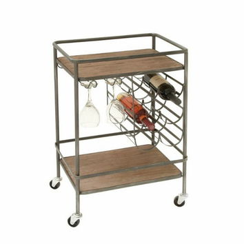 Stylish Metal Wood Wine Rack Cart