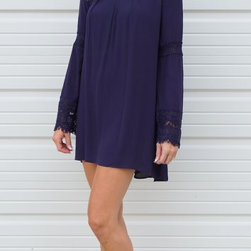 Navy Blue Lace Trimmed Tunic Dress