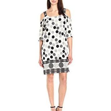 ROBBIE BEE Womens Polka Dot Chiffon Crepe Cold Shoulder Shift Dress
