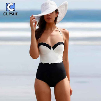 2016 Classic Tone Contrast One-Piece Swimsuits