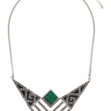 Freedom Found Collection V Shaped Necklace - Green