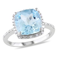 5 1/4 Carat Blue Topaz and Diamond Fashion Ring in Sterling Silver