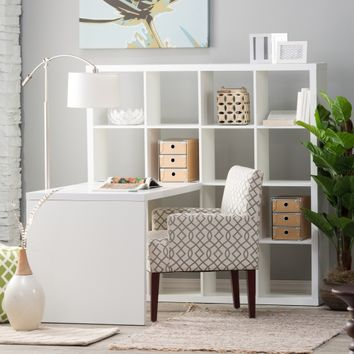 Hudson 16-Cube Shelf with Desk - White | www.hayneedle.com